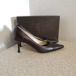 Gucci Brown Leather Pump